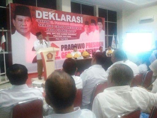 Gerindra Sulteng Resmi Capreskan Prabowo