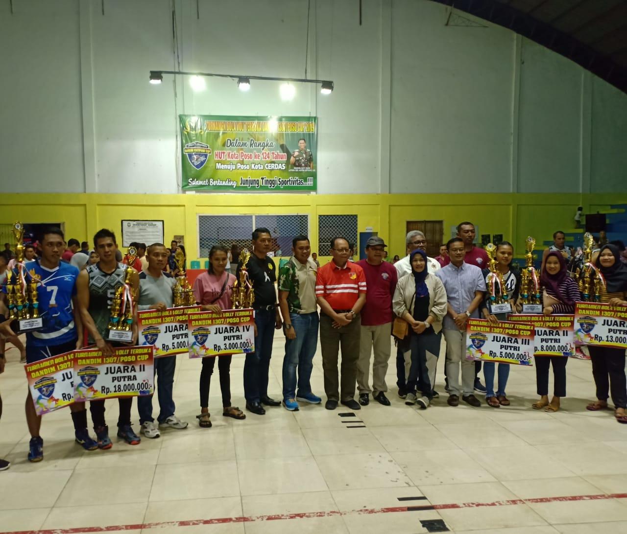 Kampus Untad Dan Sari Club Palu Juara Bola Voli Dandim 1307