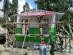 Rumah Tiga Pilar yang Dibangun Satgas TMMD Sudah Masuk Tahap Finishing